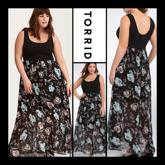05910094c5c8 Gorgeous Torrid Black Floral Chiffon Dress. M 5a7f7b3da4c4854740fc0008
